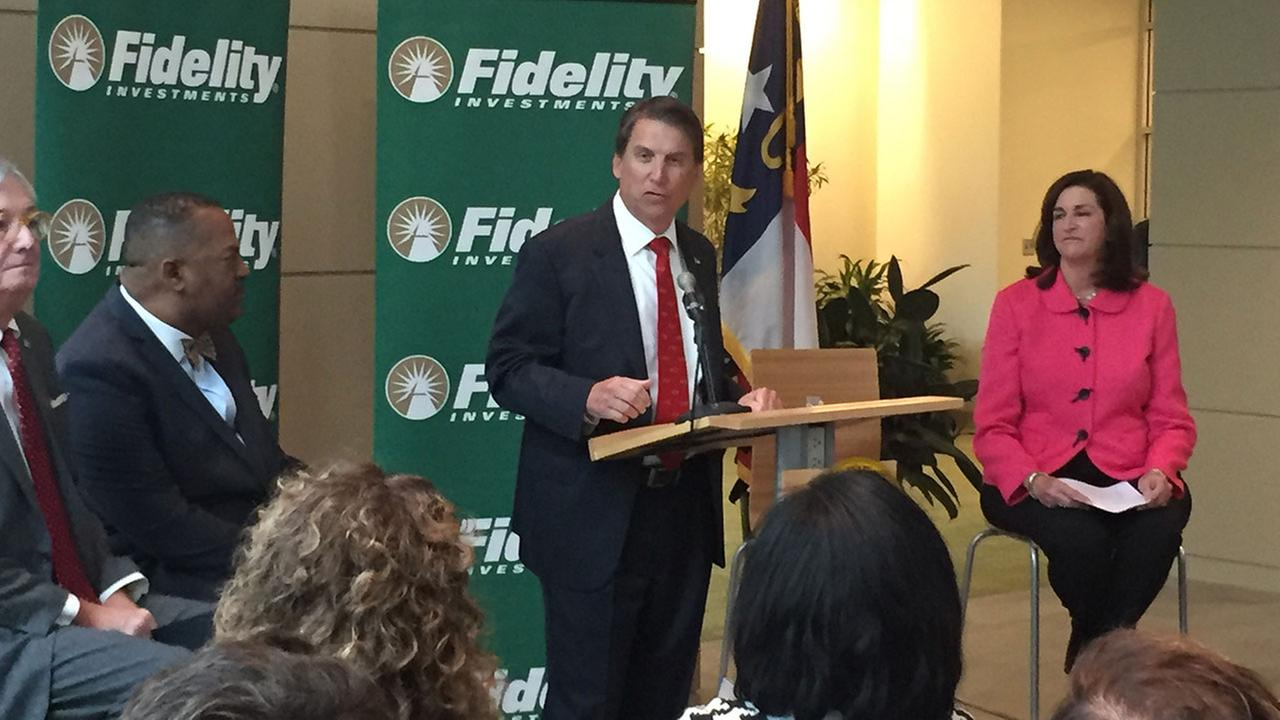 Governor Pat McCrory announced Tuesday that Fidelity Investments will add 600 jobs in Durham County