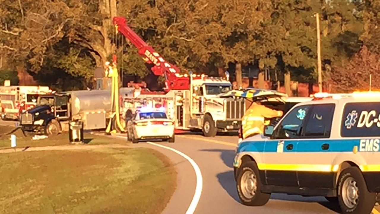 Photo from the scene on East Garner Road where a tanker truck flipped over