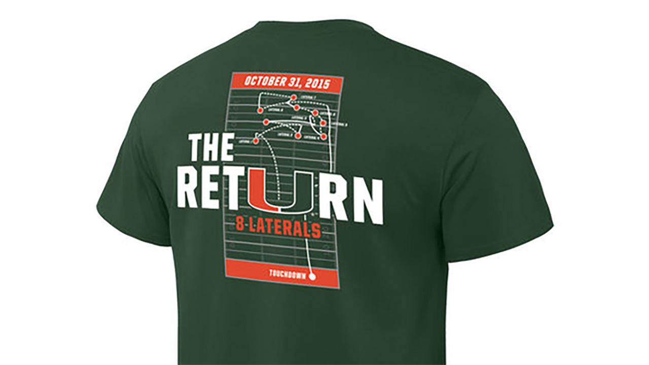 The Return shirt being sold by the University of Miami to commemorate the controversial play