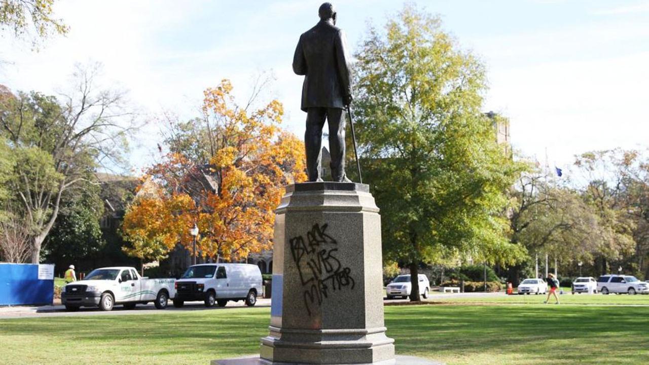 The James B. Duke statue in front of Duke Universitys Chapel was vandalized Friday