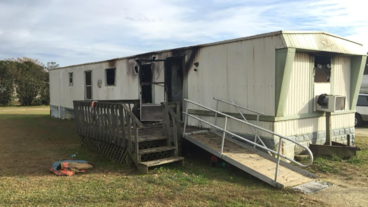 The fire was on the side of the mobile home with a handicap accessible ramp