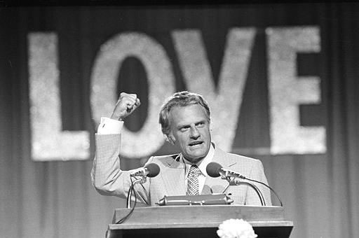 Evangelist Billy Graham speaks to 18,000 messengers in Dallas, June 13, 1974, on the closing night of the Southern Baptist Convention.