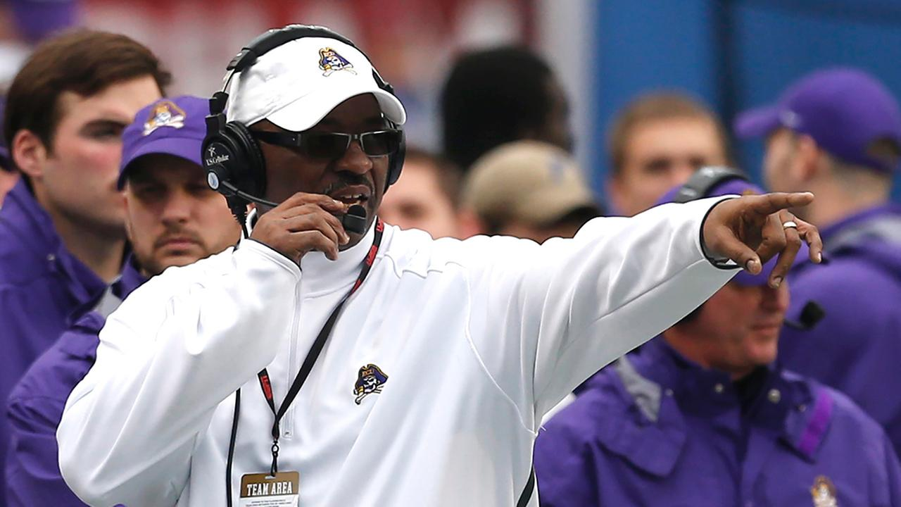 East Carolina Coach Ruffin McNeill reacts to a play during the second half of the Birmingham Bowl NCAA college football game against Florida Saturday, Jan. 3, 2015