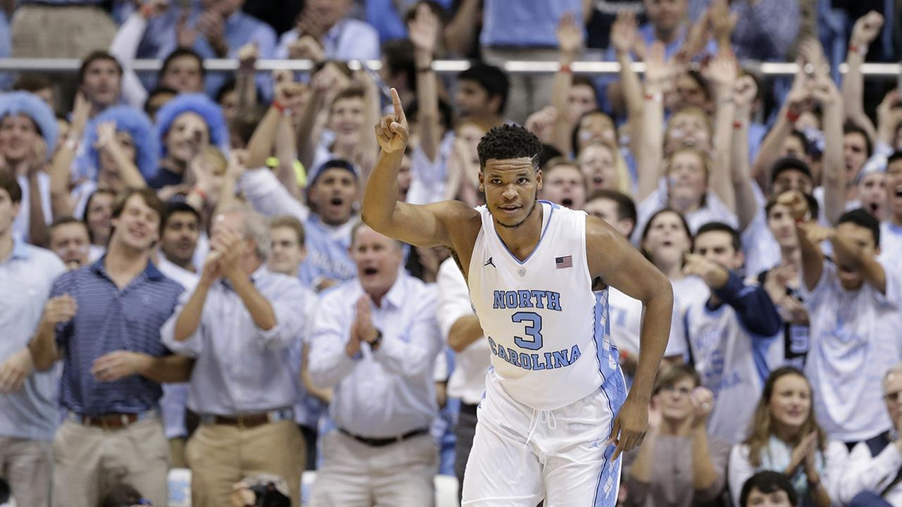 North Carolinas Kennedy Meeks (3) reacts following a basket against Maryland during the second half of an NCAA college basketball game in Chapel Hill, N.C., Tuesday, Dec. 1, 2015.