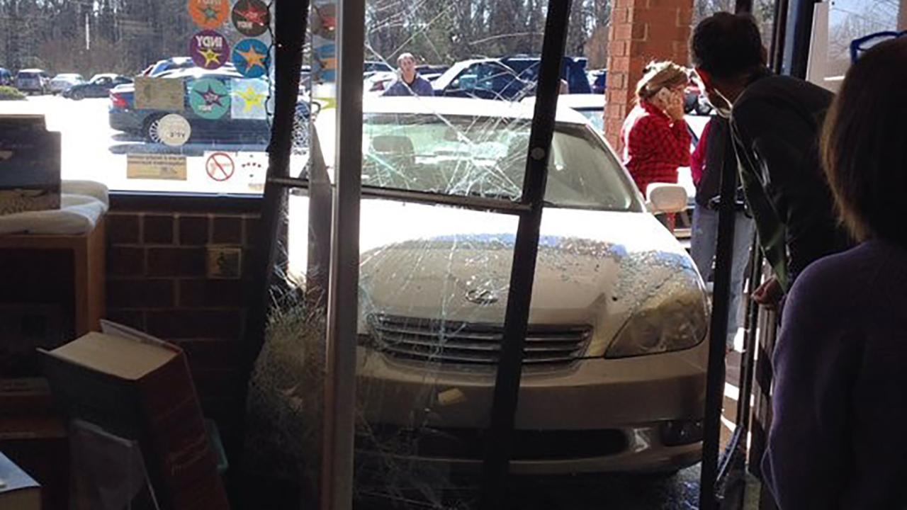 Car plows through entrance of Quail Ridge bookstore in Raleigh