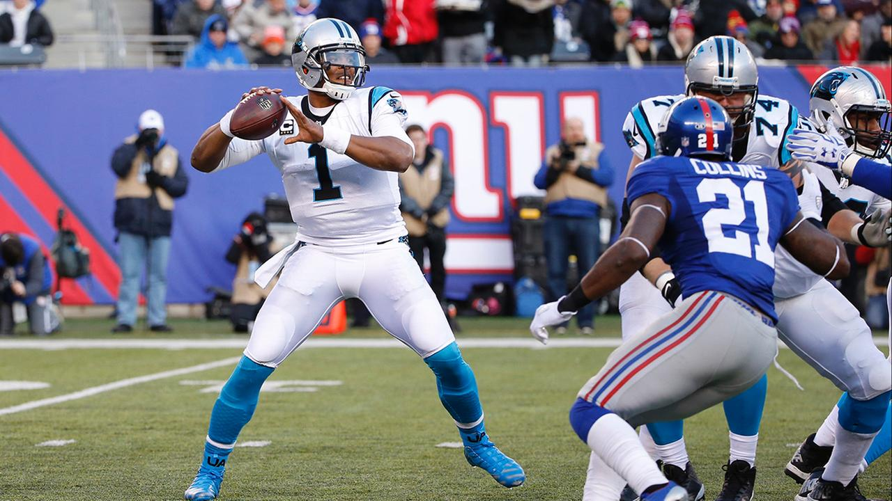 Carolina Panthers Cam Newton (1) throws a pass during the second half of an NFL football game against the New York Giants Sunday, Dec. 20, 2015, in East Rutherford, N.J.