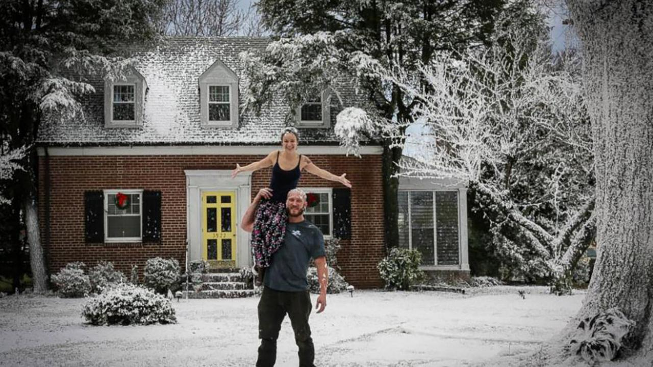 VA man surprises wife with white Christmas in record heat