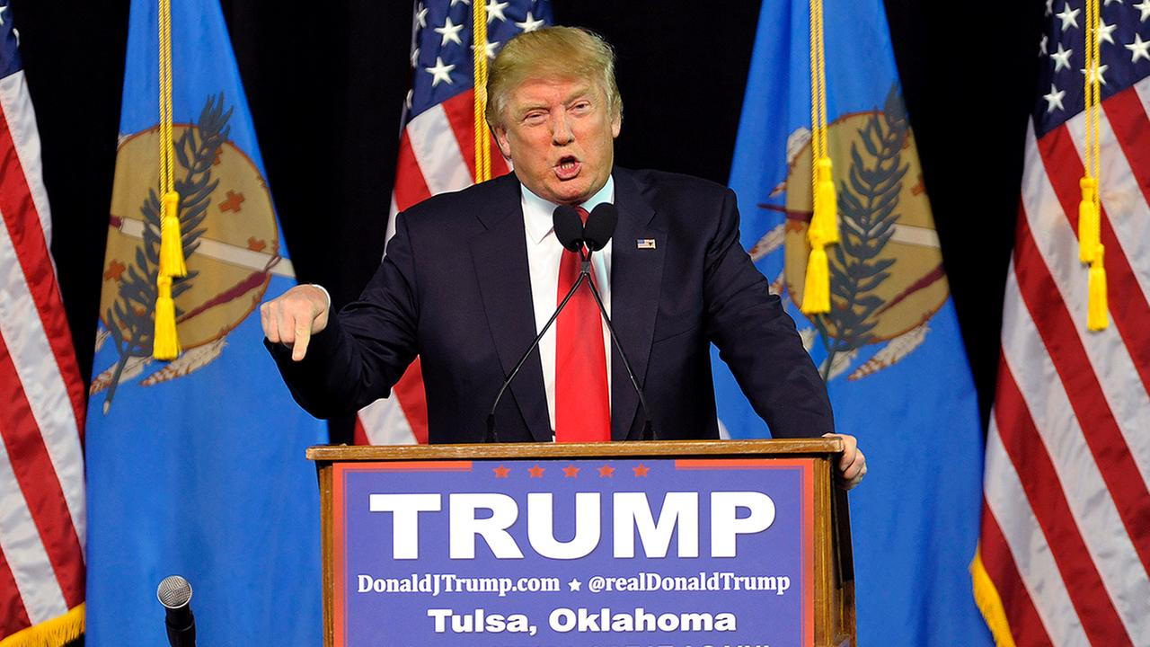 Republican presidential candidate Donald Trump speaks at a rally in Tulsa, Okla., Wednesday, Jan. 20.
