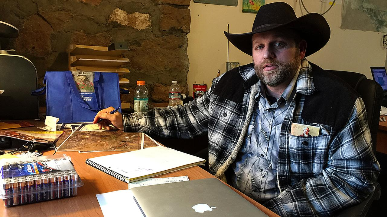 Ammon Bundy sits at a desk hes using at the Malheur National Wildlife Refuge in Oregon on Friday, Jan. 22, 2016.