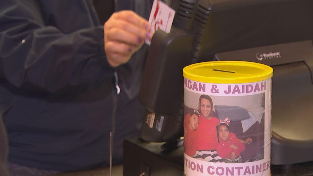 Donation jar for Morgan and Jaidah