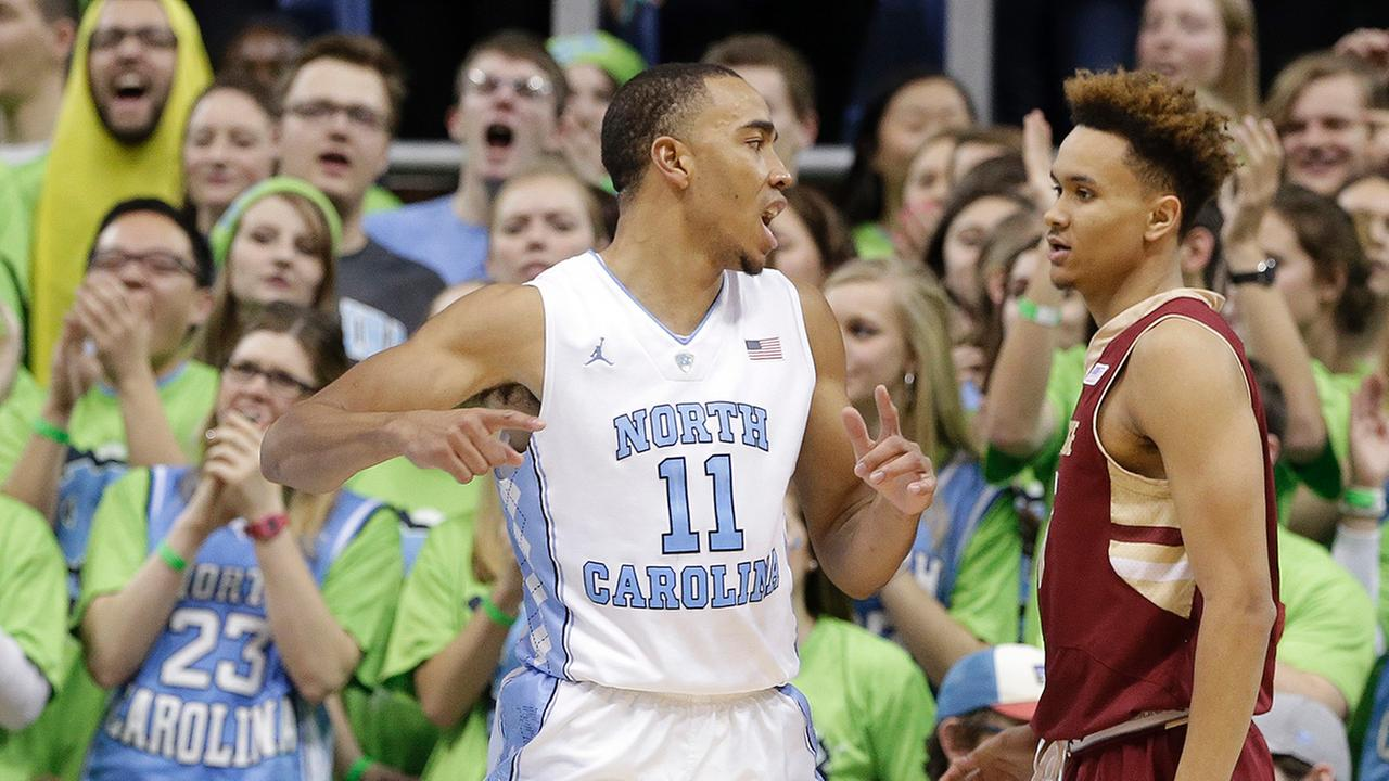North Carolinas Brice Johnson (11) reacts following a basket as Boston Colleges A.J. Turner (11) looks on during the second half of an NCAA college basketball game in Chapel Hill, N.C., Saturday, Jan. 30, 2016. North Carolina won 89-62.