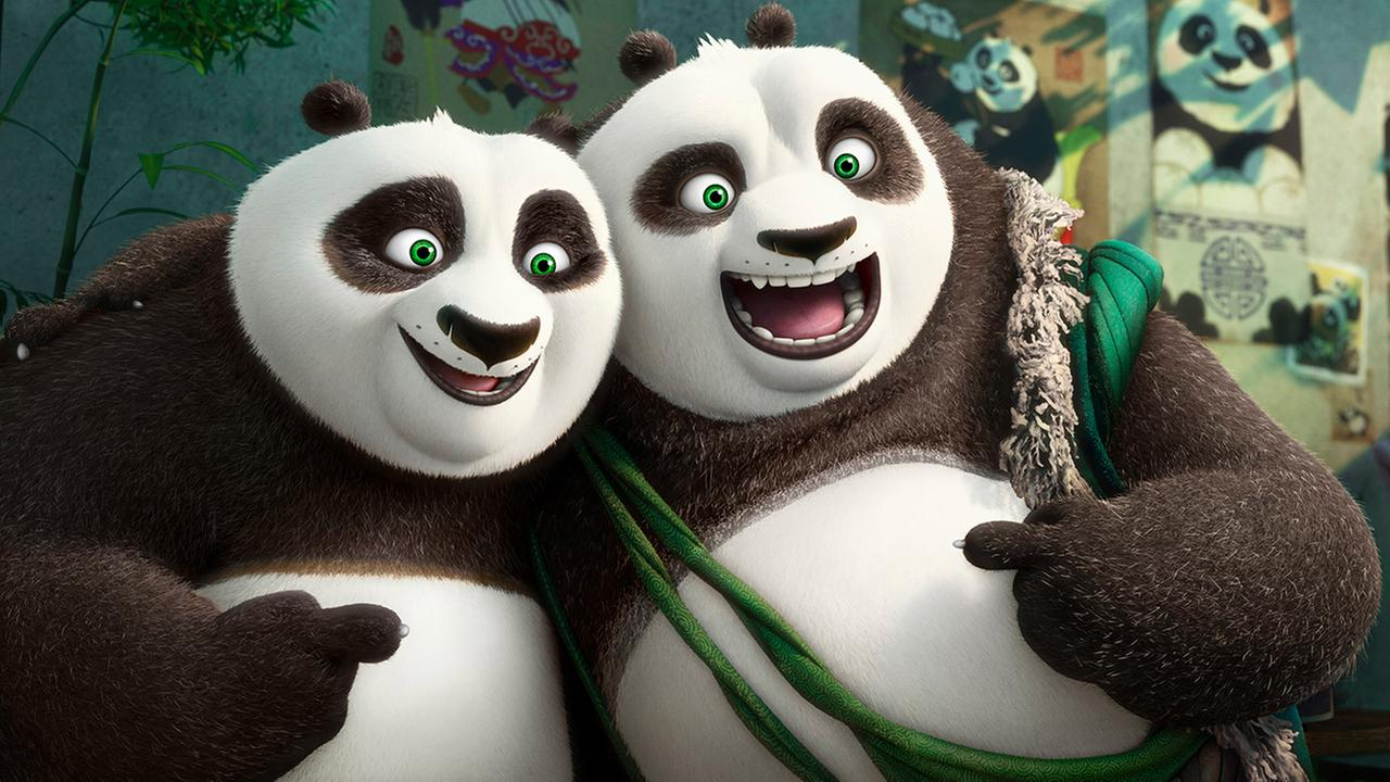This image released by DreamWorks Animation shows characters Po, voiced by Jack Black, left, and his long-lost panda father Li, voiced by Bryan Cranston, in a scene from Kung Fu Panda 3.
