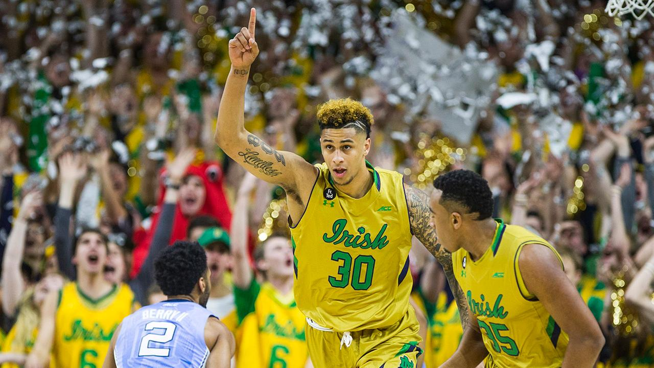 Notre Dames Zach Auguste (30) celebrates after scoring the teams first basket of the night against North Carolina, in an NCAA college basketball game Saturday, Feb. 6, 2016