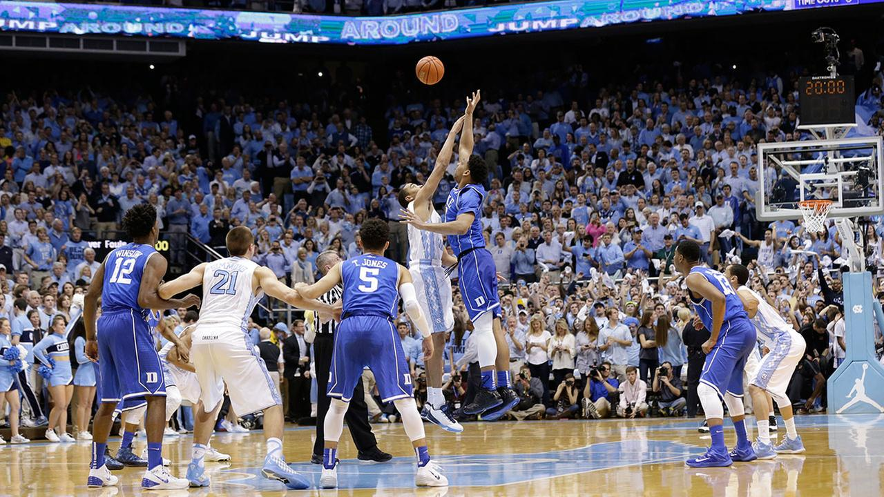 First half of Duke vs. UNC college basketball game in Chapel Hill, N.C., Saturday, March 7, 2015.