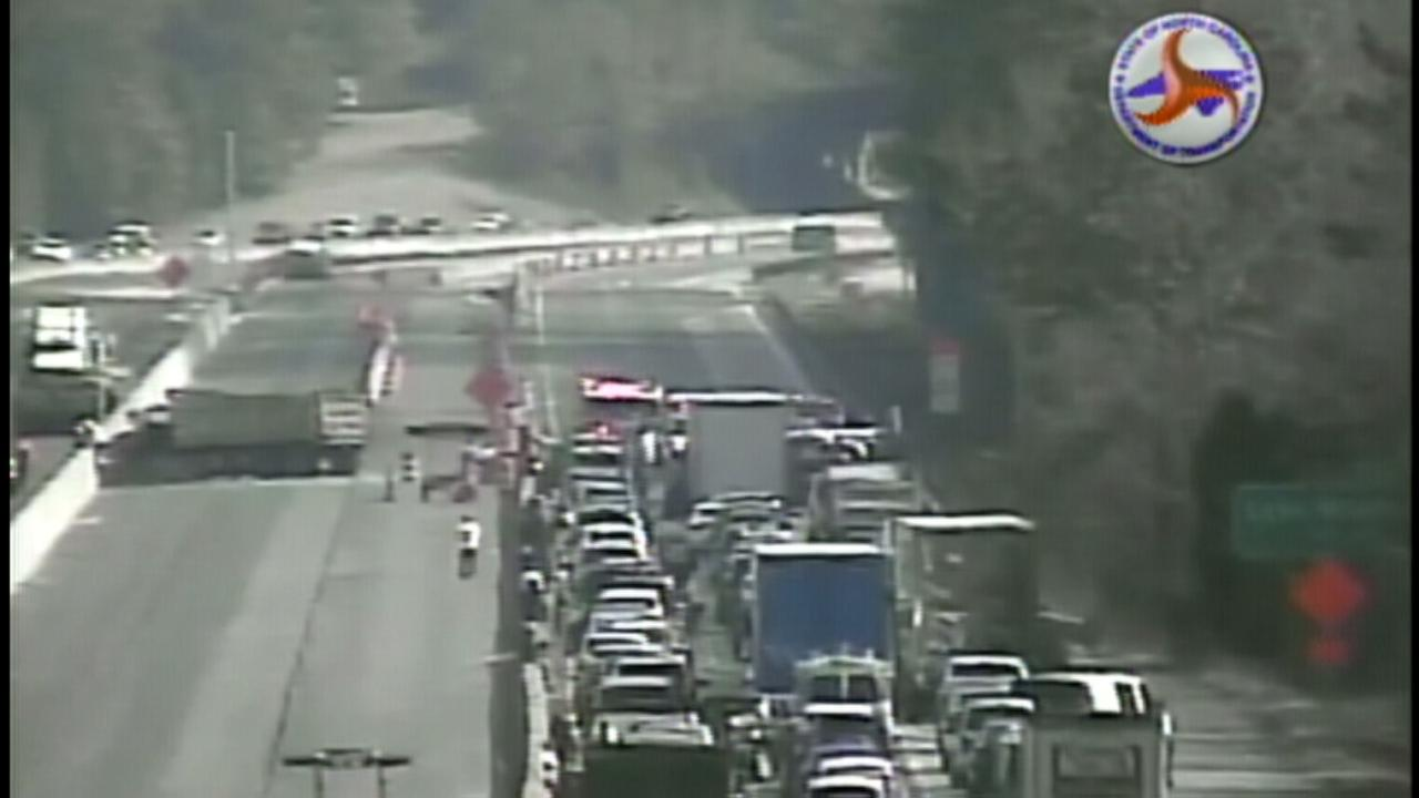I40 E is shut down in Wake County