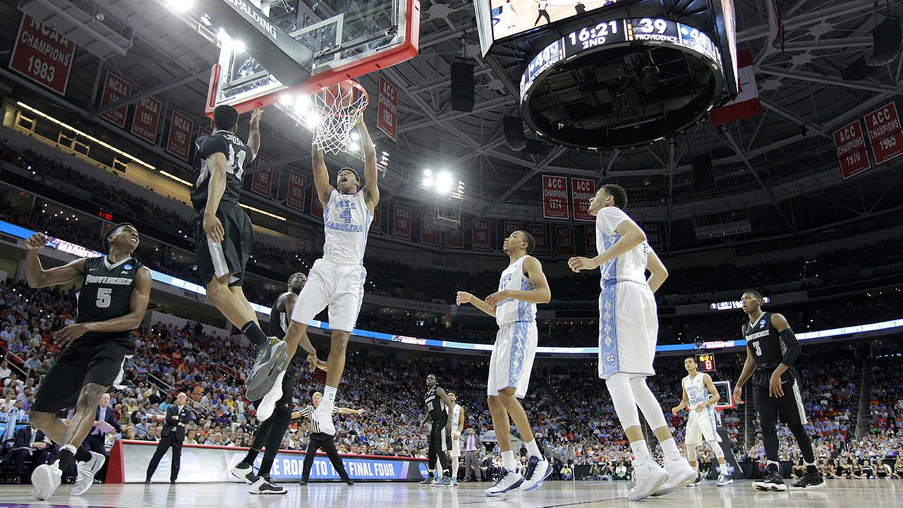 North Carolina forward Isaiah Hicks (4) shoots against Providence during the second half of a second-round mens college basketball game in the NCAA Tournament