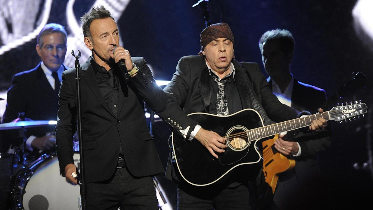 Bruce Springsteen and Steven Van Zandt perform at the 2014 Rock and Roll Hall of Fame Induction Ceremony on Thursday, April, 10, 2014 in New York.