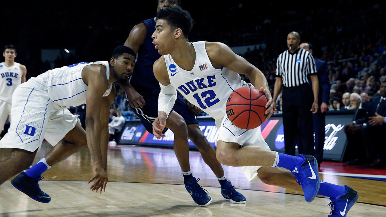 Dukes Derryck Thornton (12) drives for the basket during the second half against Yale in the second round of the NCAA mens college basketball tournament in Providence, R.I., Saturday, March 19, 2016.
