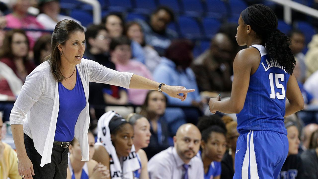 Duke head coach Joanne P. McCallie, left, talks with Kyra Lambert, right, during the second half of an NCAA college basketball game against Notre Dame