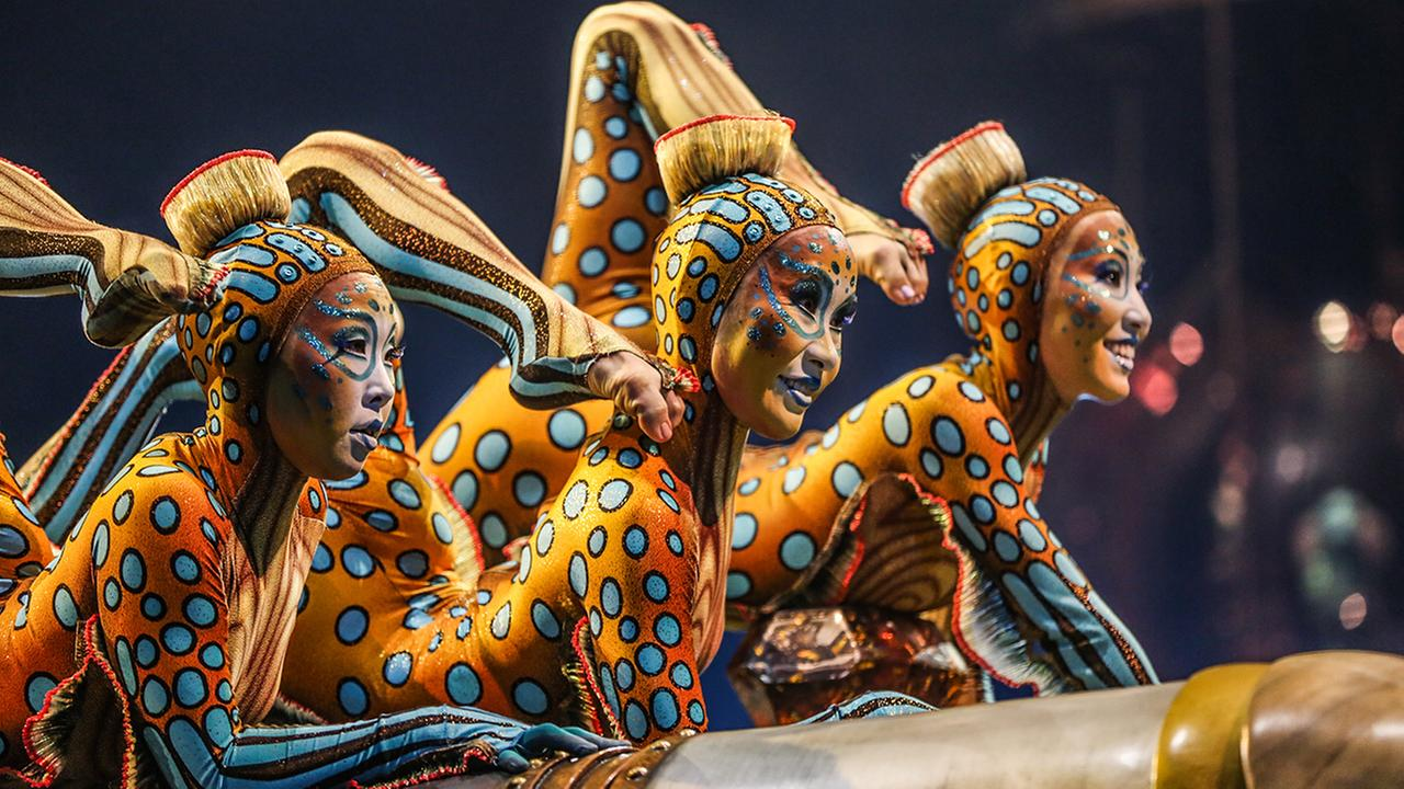 Cast members from Cirque du Soleil perform on stage during the LA Premiere of Cirque du Soleils KURIOS - Cabinet of Curiosities at Dodger Stadium on Wednesday, Dec. 9, 2015