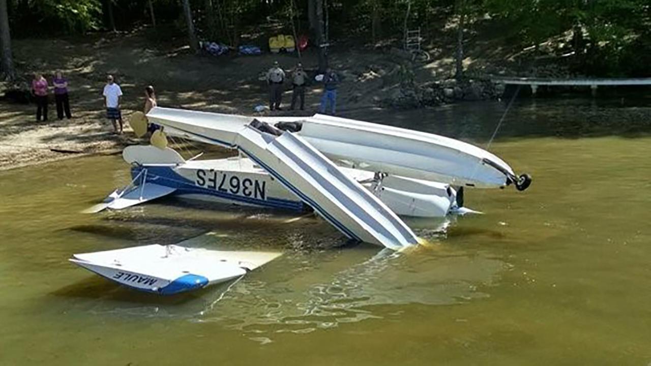 Small plane flips on Lake Gaston