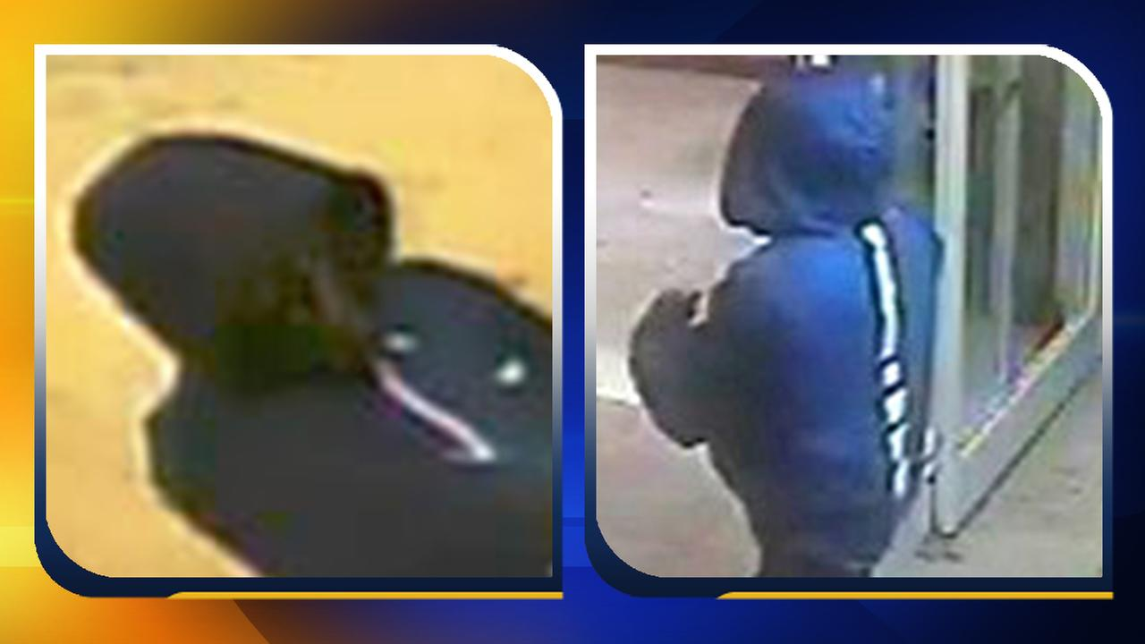 Surveillance photos of the suspect in multiple armed robberies
