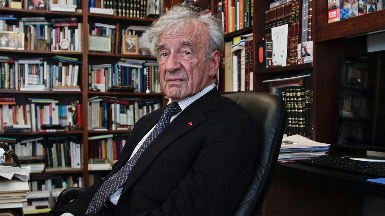 This Sept. 12, 2012, photo shows Holocaust activist and Nobel Peace Prize recipient Elie Wiesel, 83, in his office in New York.