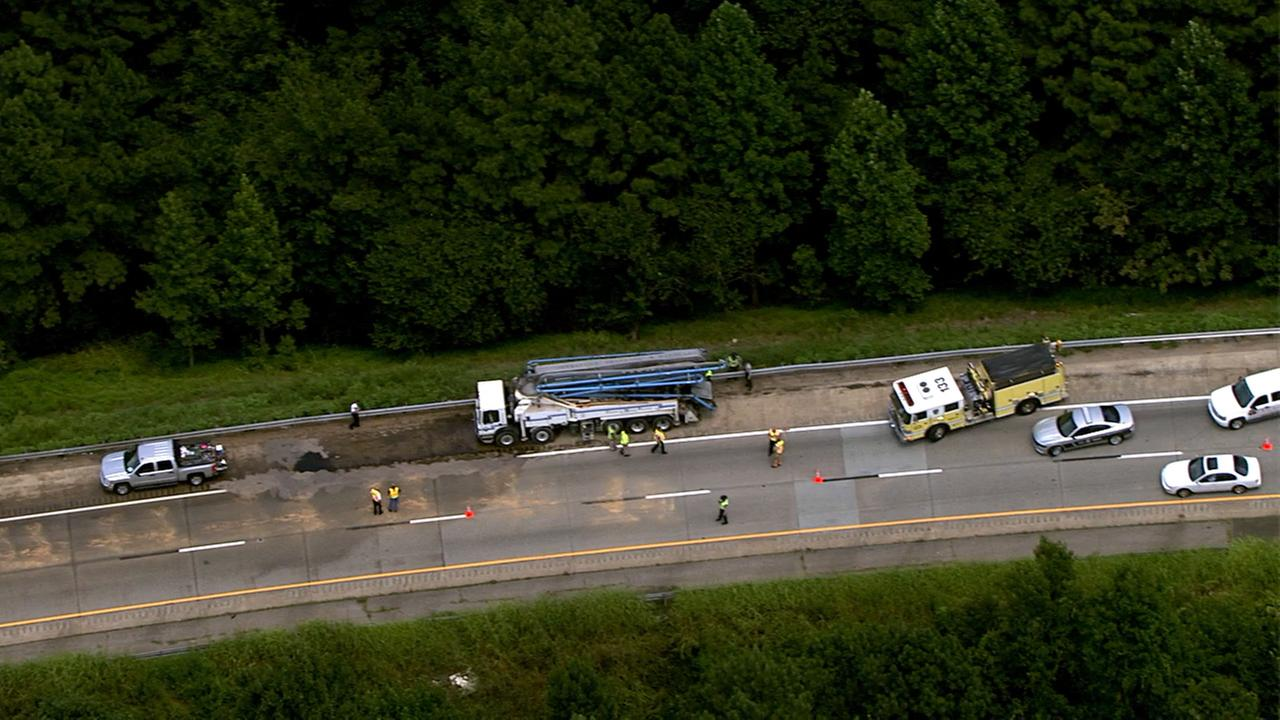 A truck leaking fluid caused major traffic delays on I-40 WB