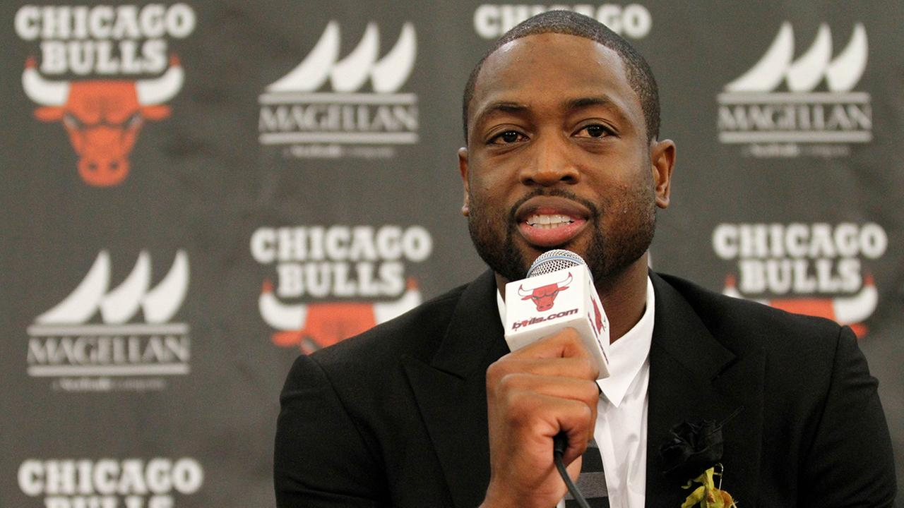 FILE- In this July 29, 2016, file photo, Chicago Bulls player Dwyane Wade speaks during a news conference in Chicago.