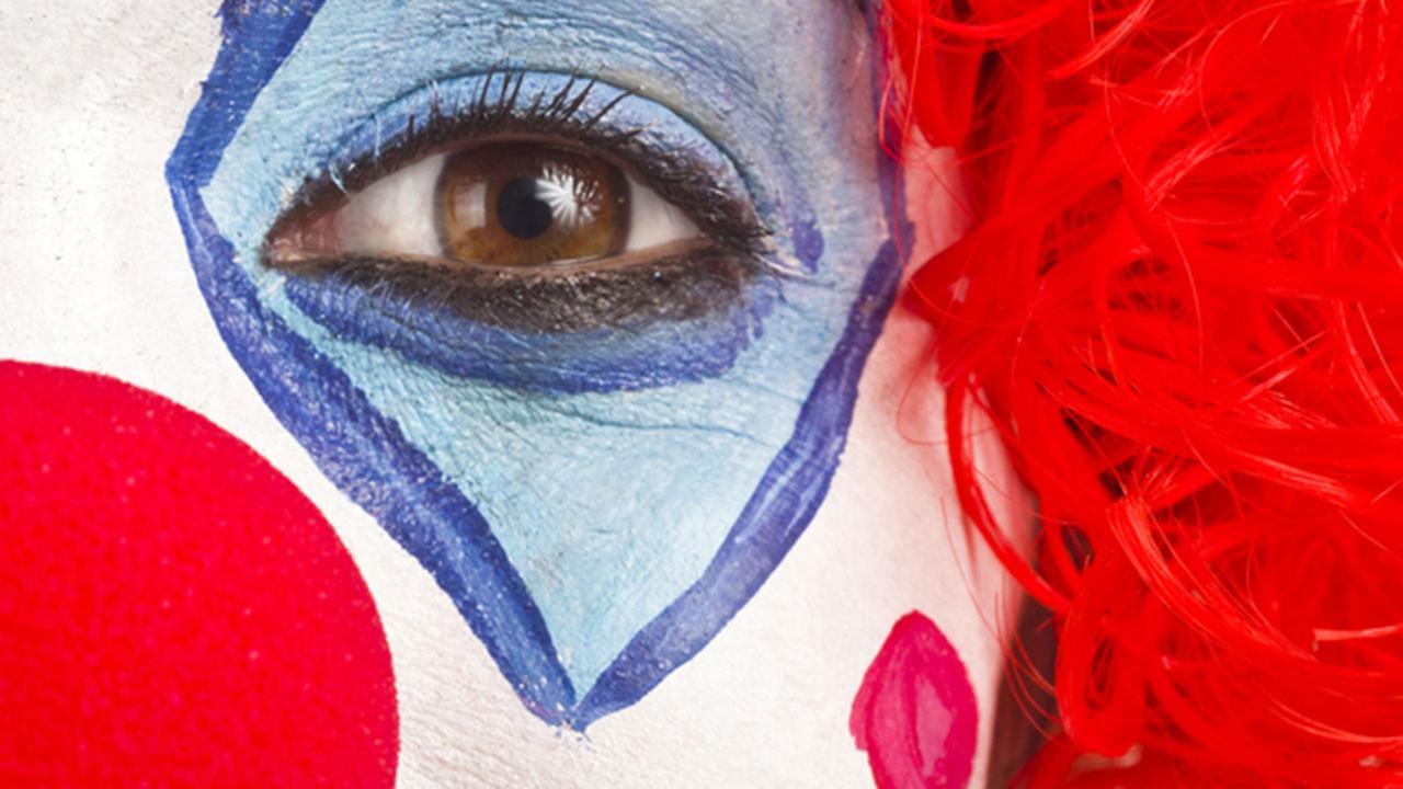 Close up photo of a clown