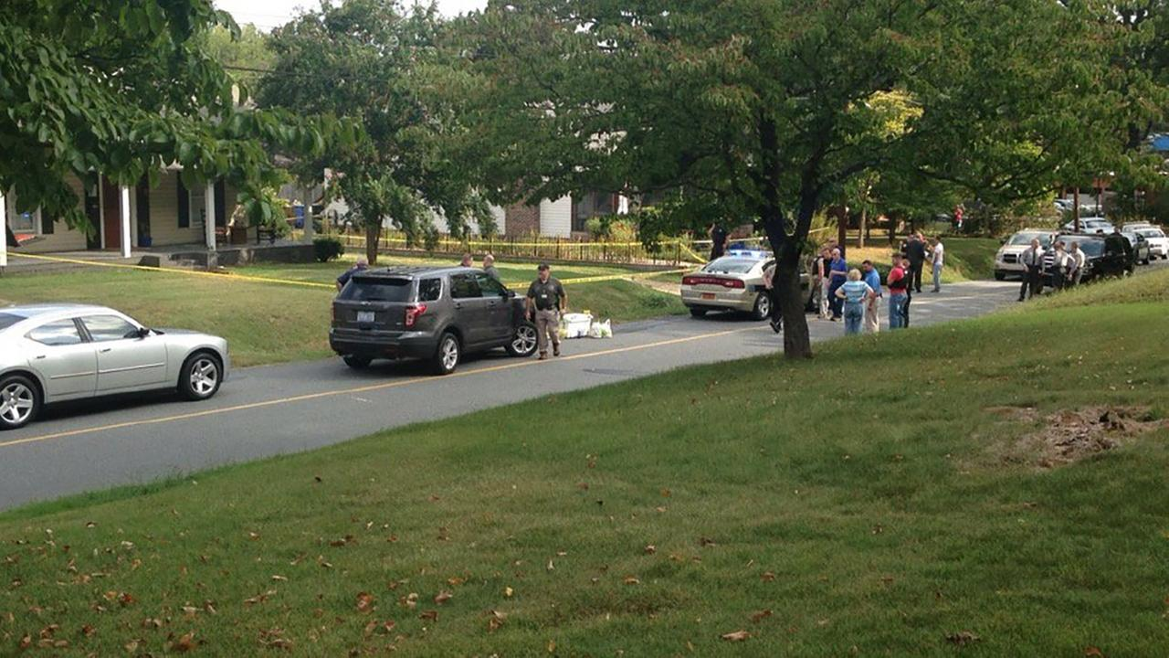 The scene outside a home on Monfredo Street in Rutherfordton.