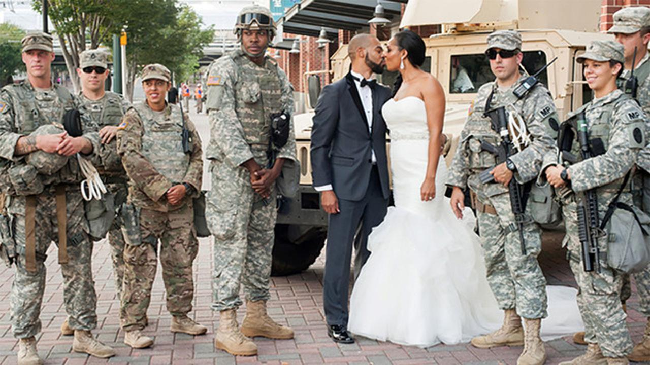 Couple ties knot at vandalized hotel during Charlotte protests