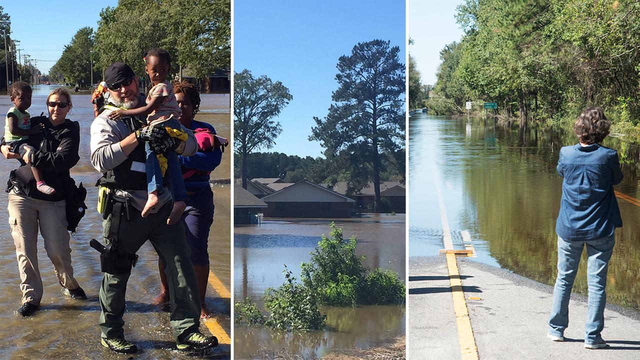 U.S. Marshalls rescue a family in Lumberton (left), flooded homes in Lumberton (center), floodwaters caused by rain from Hurricane Matthew block NC Highway 41 west (AP image).