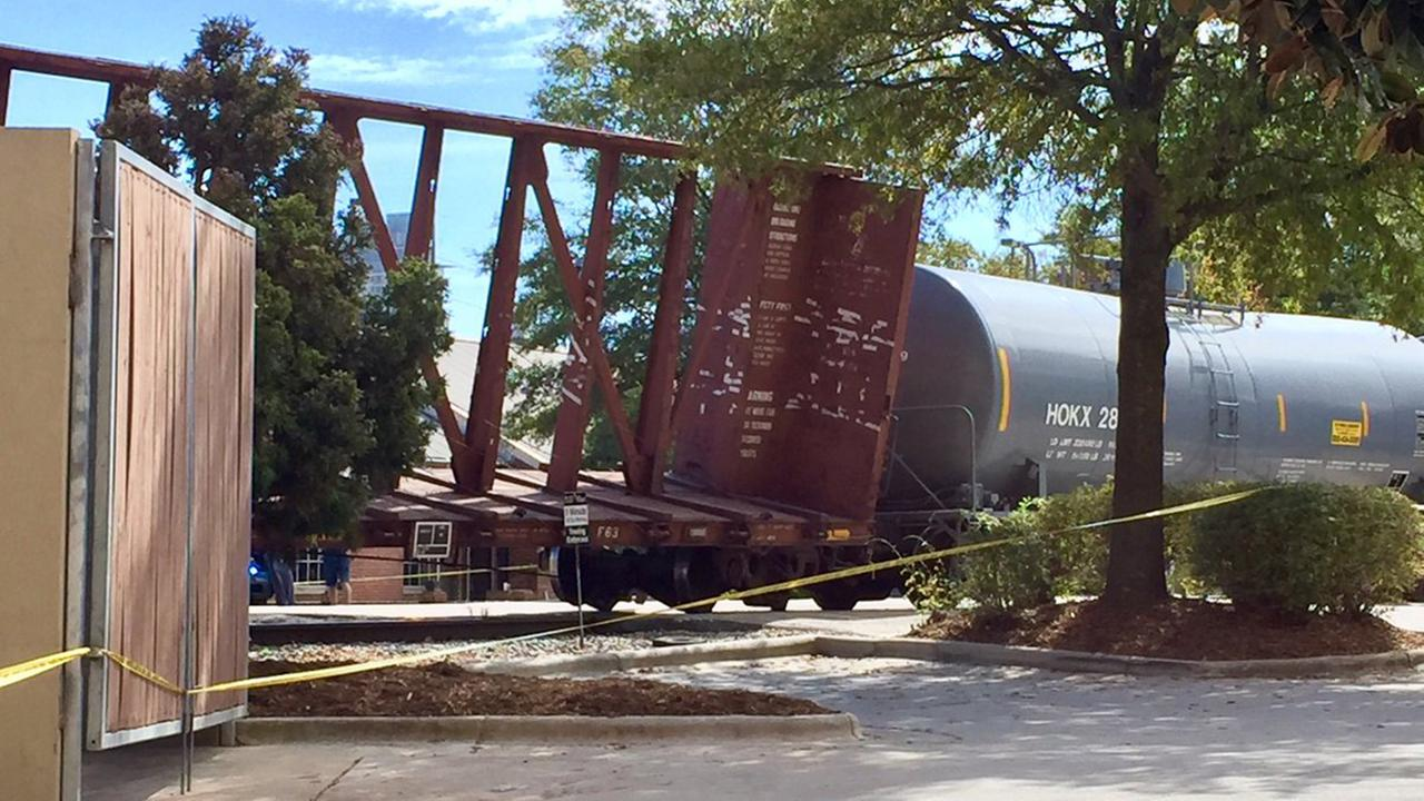 Freight train car derailed in Raleigh
