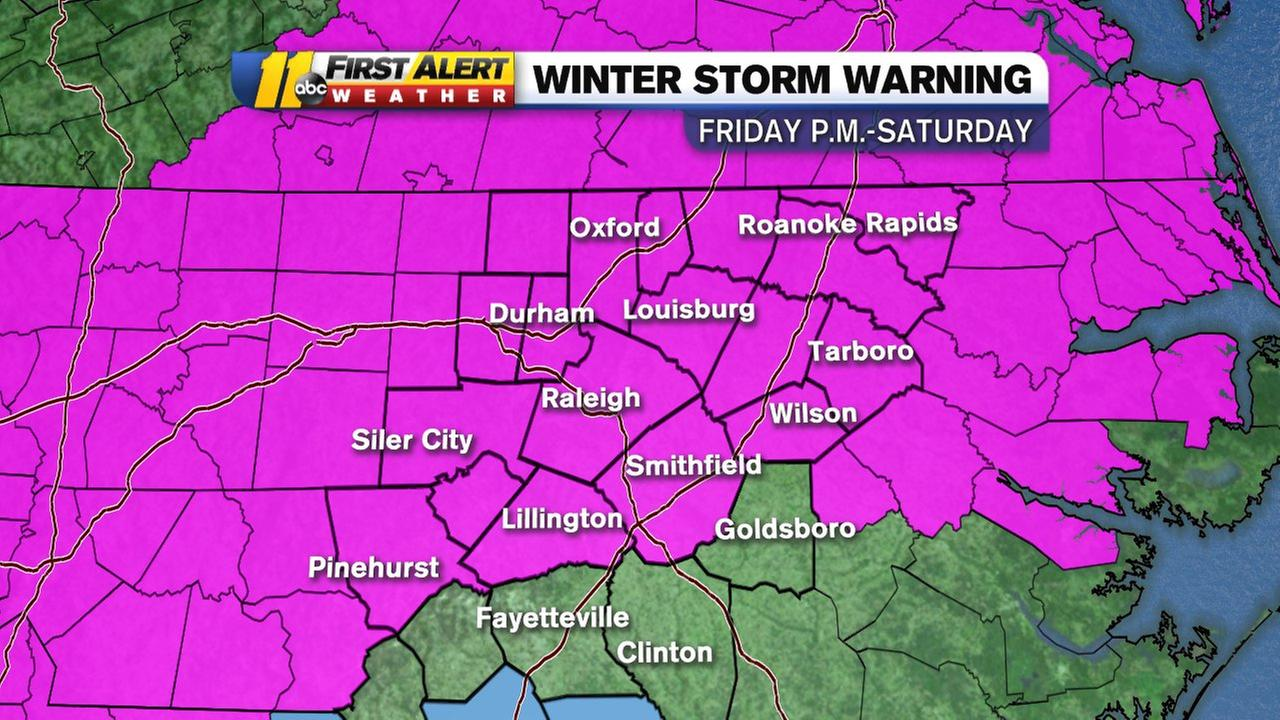 A winter storm warning goes into effect at 7 p.m. Friday until 7 p.m. Saturday.