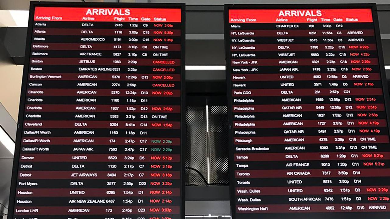 Flight board at RDU