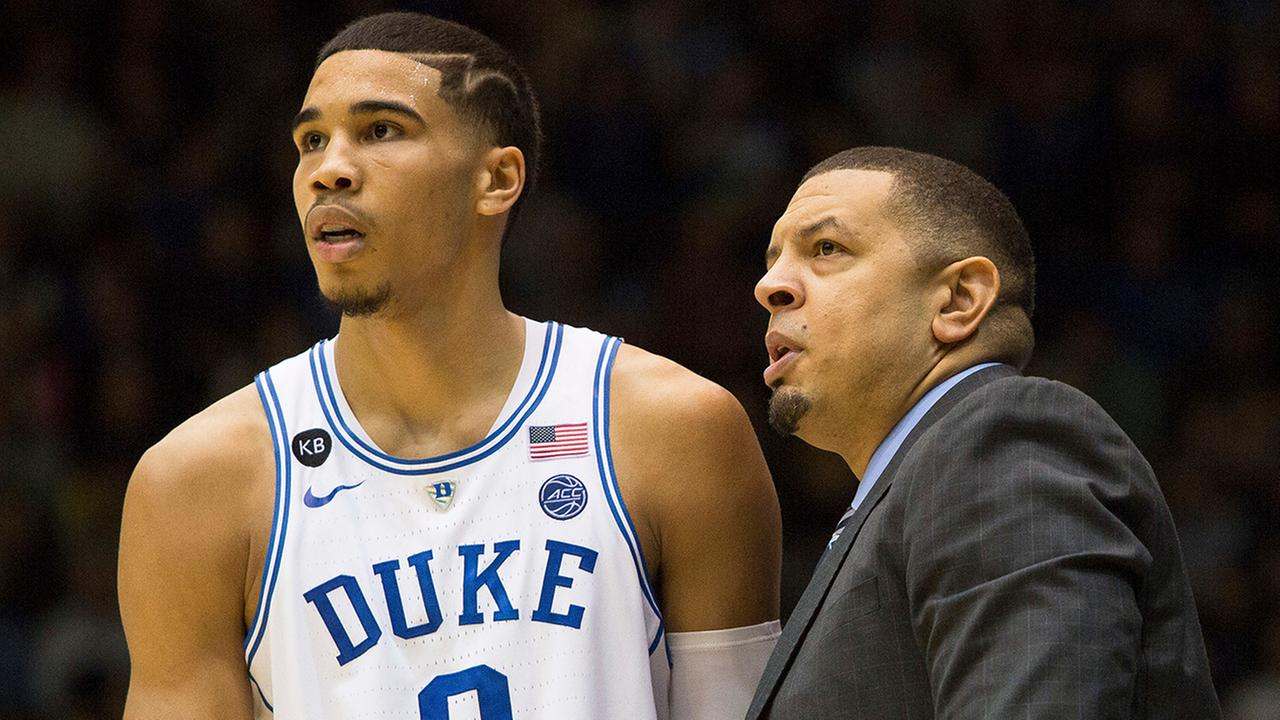 Duke assistant coach Jeff Capel, right, speaks with Dukes Jayson Tatum (0) during the second half of an NCAA college basketball game against Georgia Tech in Durham, N.C., Wednesday, Jan. 4, 2017.