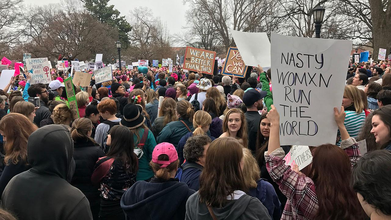 Thousands descend on downtown Raleigh to participate in the Womens March
