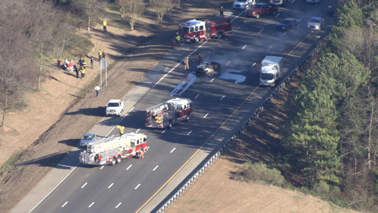 Law enforcement on the scene of an accident on I-40 in Durham County