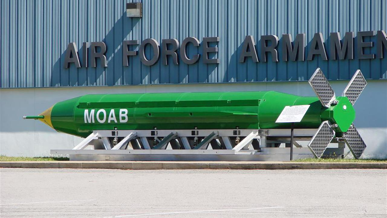 File - A GBU-43/B Massive Ordnance Air Blast weapon on display outside the Air Force Armament Museum, Eglin Air Force Base, Florida