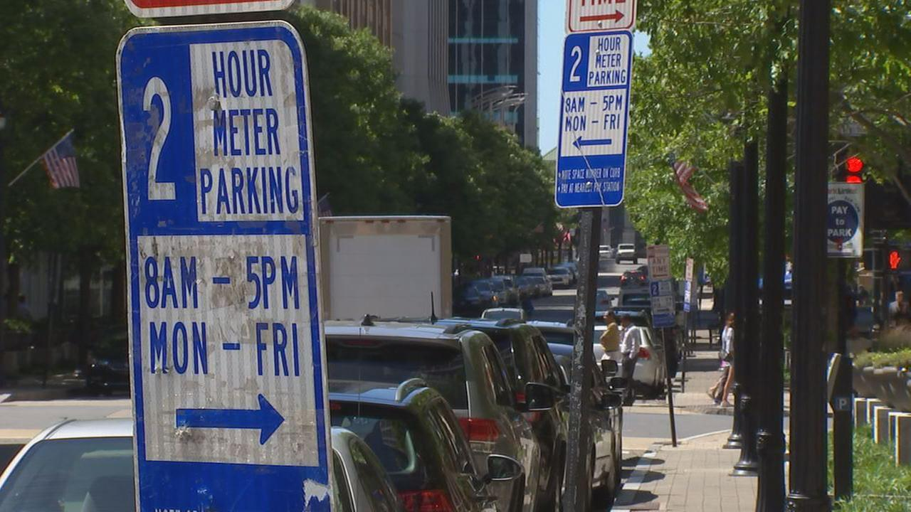 Parking signs in downtown Raleigh
