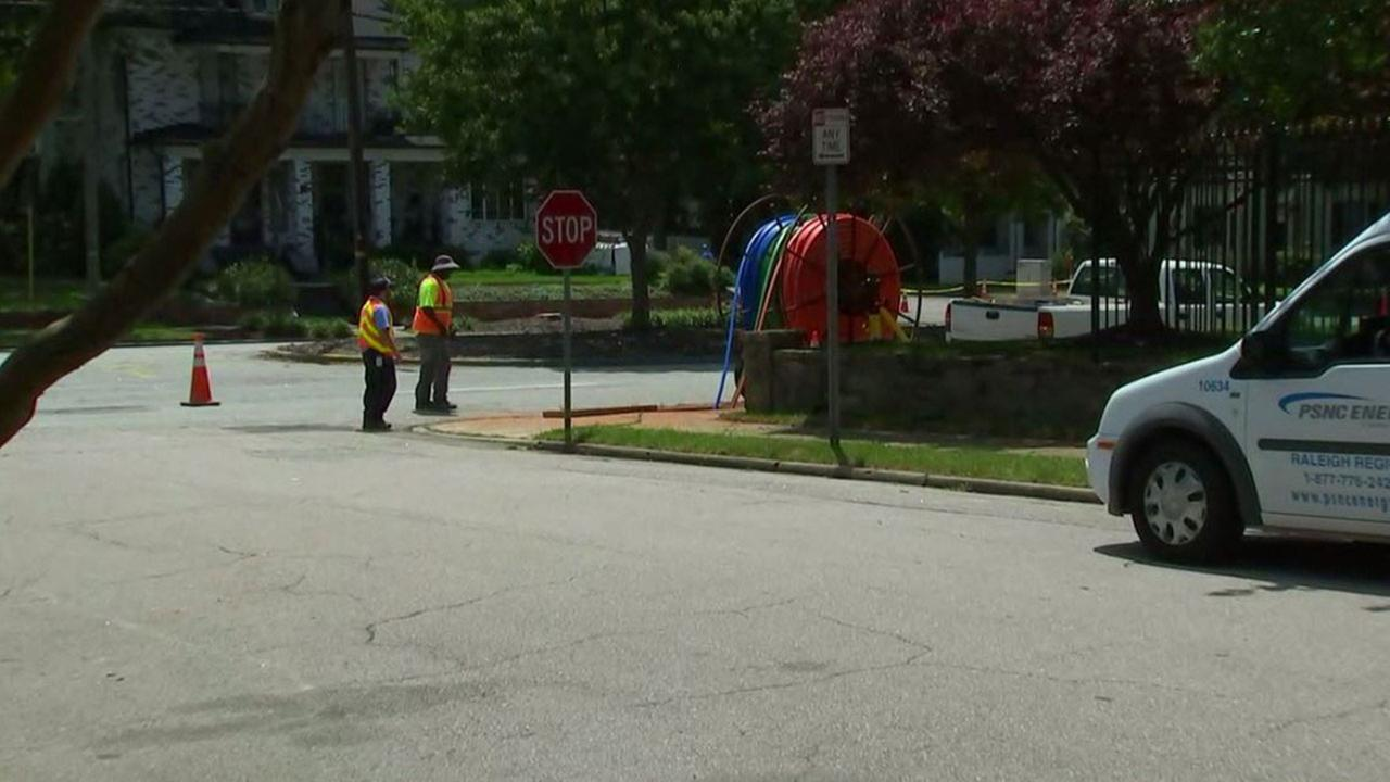 Gas leak on Glenwood Avenue near Peace Street and Wade Avenue in Raleigh