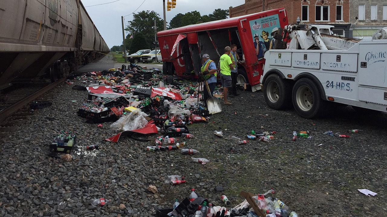 Photo taken after a CSX train collided with Coca-Cola truck in Wayne County Thursday morning