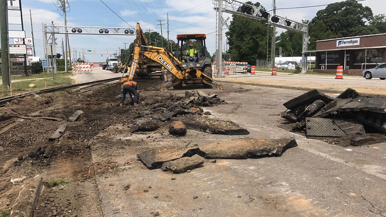 Crews upgrade a railroad crossing at Raeford and McPherson Church roads in Fayetteville