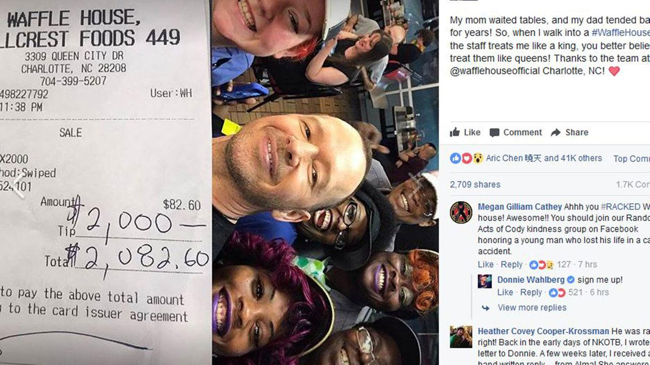 Donnie Wahlberg leaves $2,000 tip at Waffle House
