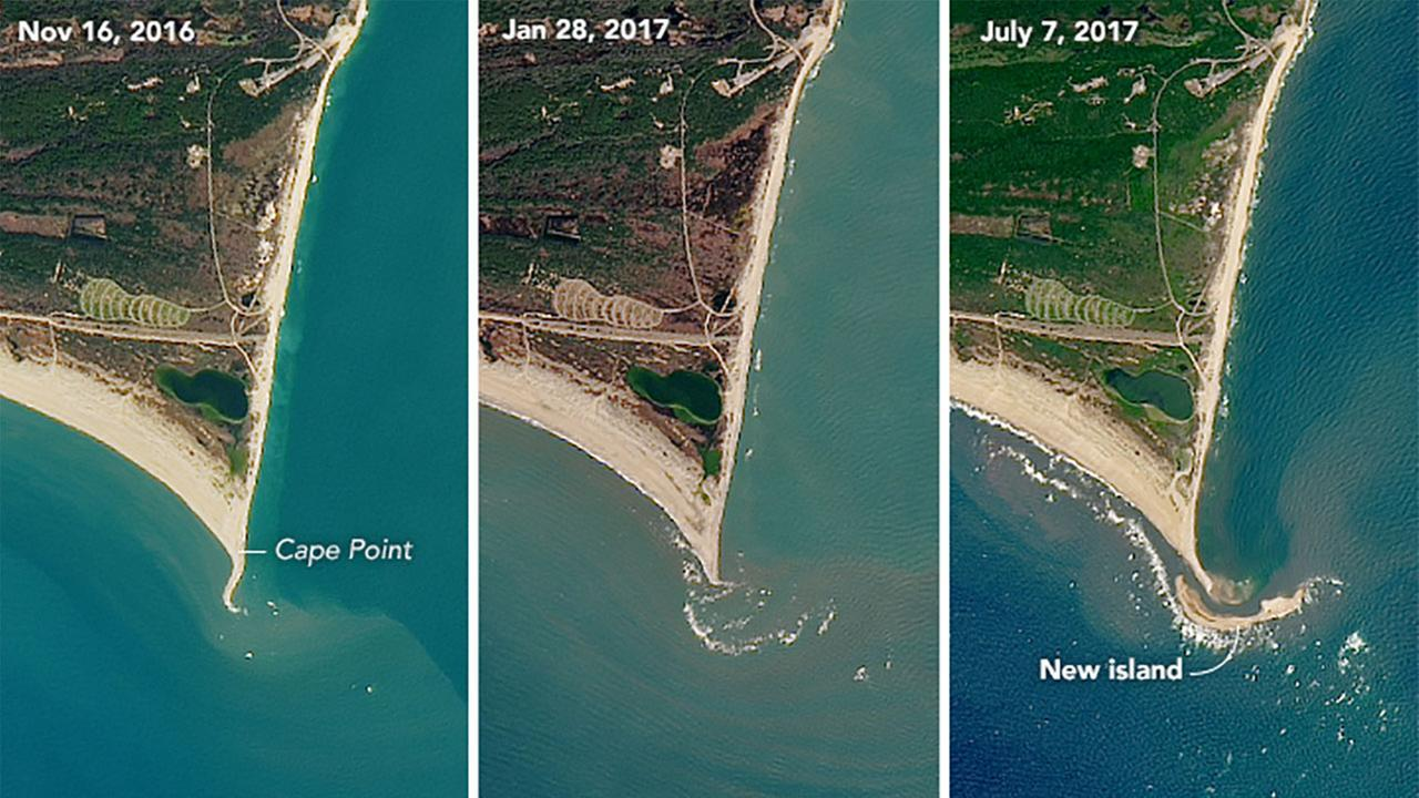 Photos acquired by the Operational Land Imager on the Landsat 8 satellite, show the shoal area off of Cape Point at Cape Hatteras National Seashore.