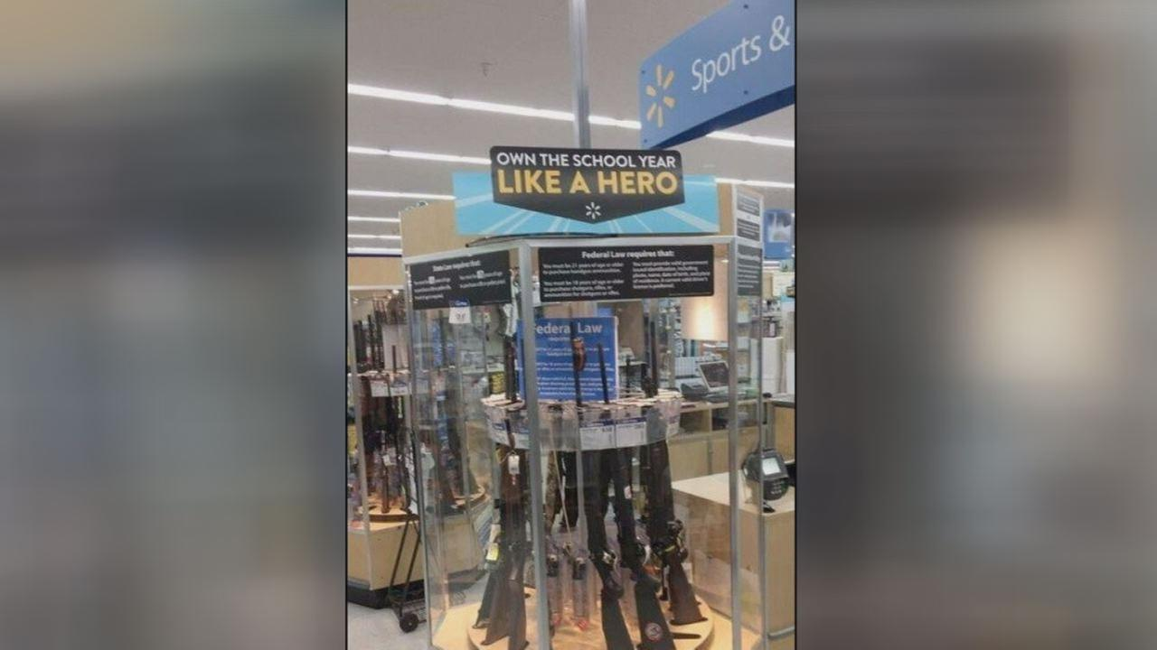 Walmart apologizes for back to school gun sign