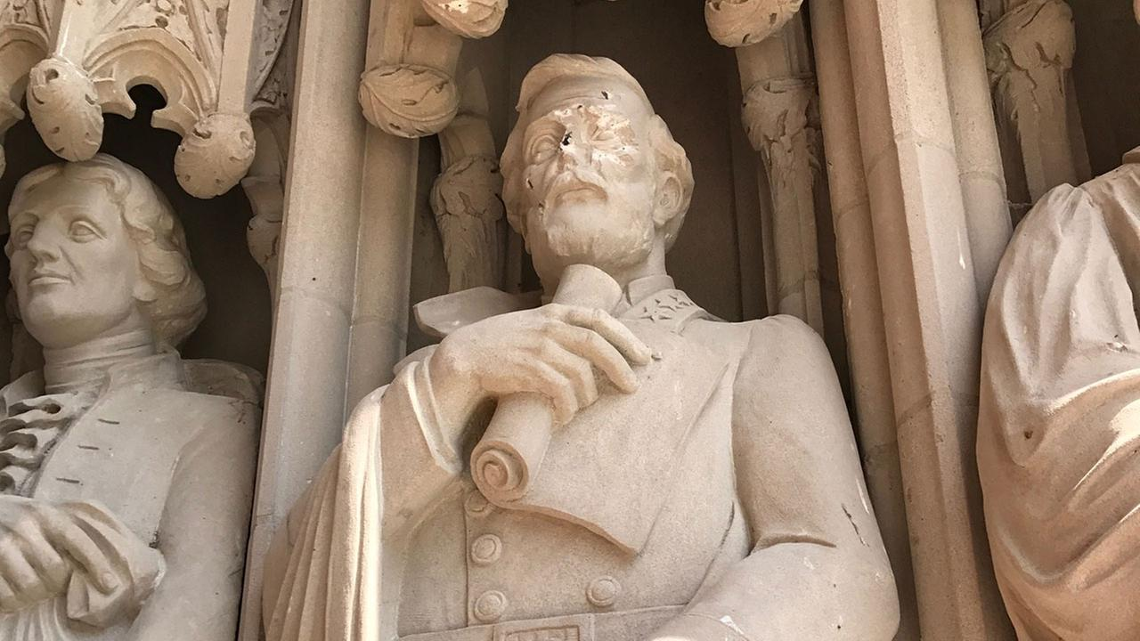 A statue of Confederate General Robert E. Lee that is part Duke Chapel on Duke Universitys campus in Durham