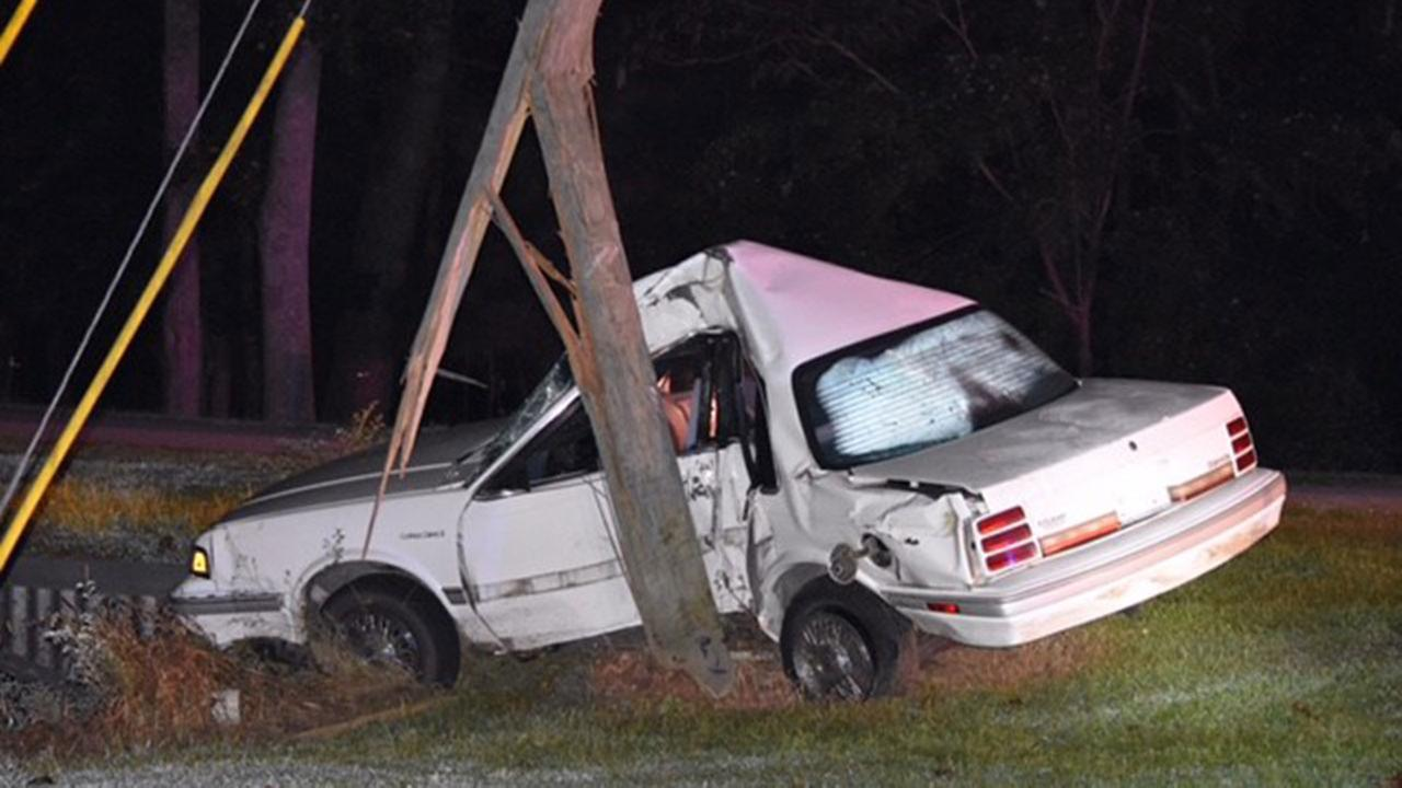 Authorities say a 1993 Oldsmobile hit a utility pole on Morgan Road in Benson.