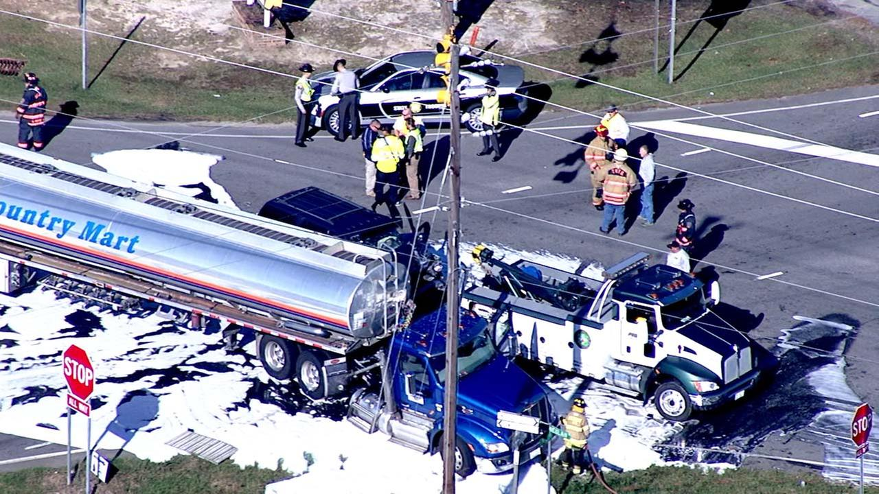 SUV crashes into tanker in Johnston County